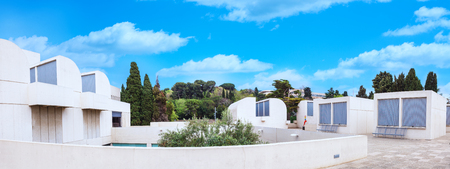 josep: Barcelona, SPAIN - April 22, 2016: Panorama Fundacio Joan Miro - 1975, is a museum of modern art with the works by Joan Miro, located on the hill called Montjuic in Barcelona, Spain. Architect: Josep Lluis Sert. Front view