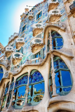 Barcelona, Spain - 17 April, 2016: The facade of the house Casa Battlo or thr house of bones designed by Antoni Gaudi with his famous expressionistic style