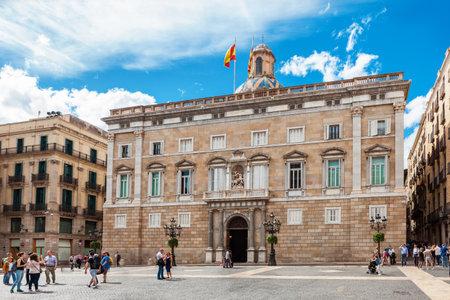 Barcelona, Spain - April 17, 2016: City Hall on Placa de Sant Jaume. The Palau de la Generalitat is a historic palace in Barcelona
