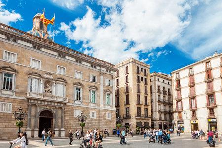 generalitat: Barcelona, Spain - April 17, 2016: City Hall on Placa de Sant Jaume. The Palau de la Generalitat is a historic palace in Barcelona