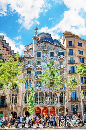 Barcelona, Spain - APRIL 18, 2016: Illa de la Discordia. Facade Casa Batllo, Lleo Morera, Rocamora, Amatller in district of incompliance. Passeig de Gracia Located in the Eixample district. modernism architecture qaurter of disagreement