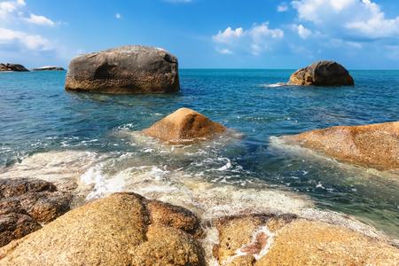 beach Chaloklum with rocks and sea of the Island in southern Thailand, Koh Pangan, Suratthani