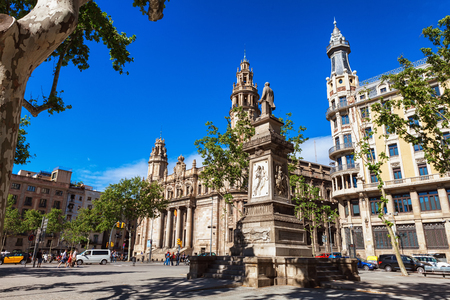 mediterranean culture: Barcelona, Spain - April 17, 2016: Postal and telegraph correos telegraphos building