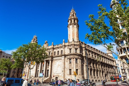 Barcelona, Spain - April 17, 2016: Postal and telegraph correos telegraphos building