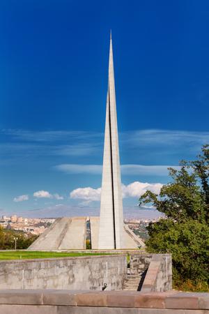 stele: Tsitsernakaberd - The Armenian Genocide memorial complex is Armenia official memorial dedicated to the victims of the Armenian Genocide in Yerevan, Armenia. Stock Photo