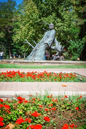 Yerevan, Armenia - September 26, 2016: The statue of Komitas near the Yerevan Komitas State Conservatory, Kentron District