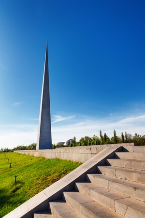 dedicated: Tsitsernakaberd - The Armenian Genocide memorial complex is Armenia official memorial dedicated to the victims of the Armenian Genocide in Yerevan, Armenia. Stock Photo