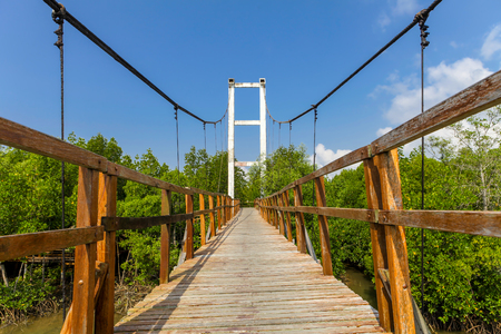 province: Thung Kha Bay Mangrove Forest. Wooden walkway suspension bridge in forest. Chumphon, Thailand For nature walks to study coastal plants and animals. Stock Photo