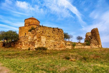 Jvari Monastery. It is a sixth century Georgian Orthodox monastery near Mtskheta, eastern Georgia. Along with other historic structures of Mtskheta.