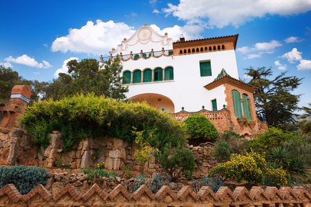 Barcelona, Spain - April 19, 2016: Building Casa Trias e Domenech in Park Guell, designed by Antoni Gaudi. House of lawyer
