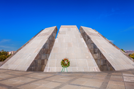Tsitsernakaberd - The Armenian Genocide memorial complex is Armenia official memorial dedicated to the victims of the Armenian Genocide in Yerevan, Armenia. Stock Photo