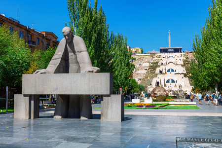 YEREVAN, ARMENIA - APRIL 8, 2016: Statue of Alexander Tamanyan in front of Cascade Complex. Alexander Tamanian, 1878-1936, was a Russian-born Armenian neoclassical architect.