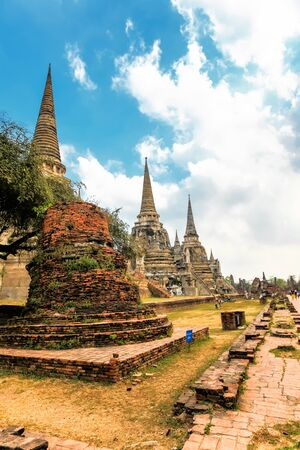 Famous temple area Wat Phra Si Sanphet, Former capital of Thailand in Ayutthaya, panoramic view on sunny day