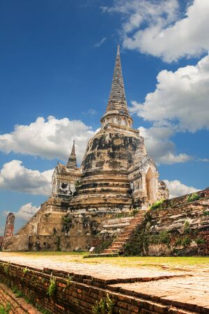 renovated: Famous temple area Wat Phra Si Sanphet, Former capital of Thailand in Ayutthaya, panoramic view on sunny day