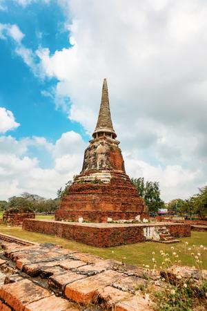 Wat Mahathat in Buddhist temple complex in Ayutthaya near Bangkok. Thailand, statue of Buddha Stock Photo