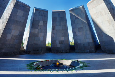 slaughter: Eternal flame in Tsitsernakaberd. Tsitsernakaberd is a memorial dedicated to the victims of the Armenian Genocide in 1915. Yerevan, Armenia. The eternal flame inside the memorial.