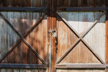 Old Rusty Latch on a Wooden Door country style