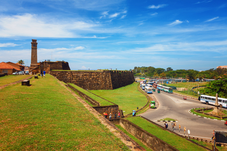 Scenic view Anthonisz Memorial Clock Tower in Galle Historical Dutch Fort, Flag Rock Bastion, Sri Lanka