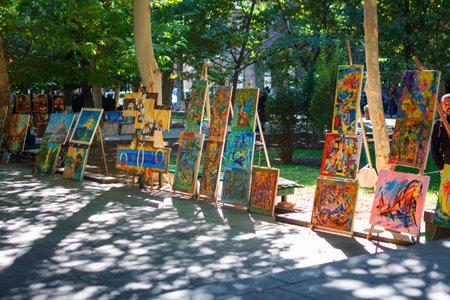 Yerevan, Armenia - 26 September, 2016: Paintings for sell in Martiros Saryan park. Vernissage paintings