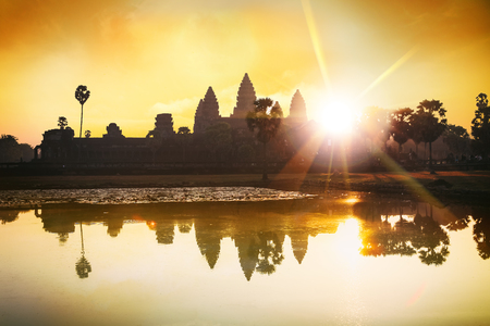 Silhouette of main temple Angkor Wat at sunrise and reflection, the best time in the morning at Siem Reap, Cambodia. Khmer architecture Stock Photo