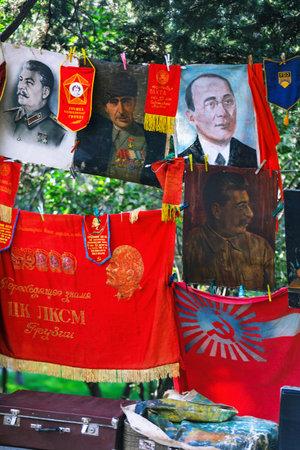 collectible: Tbilisi, Georgia - 08 October, 2016: Dry Bridge Flea market in Tbilisi sells a portrait of Joseph Stalin, Georgia. Editorial