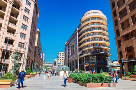 Yerevan, Armenia - 26 September, 2016: The Northern Avenue - shopping pedestrian streen in city center of Yerevan. Best place for the shopping and relax in local restaurant or lounge bar