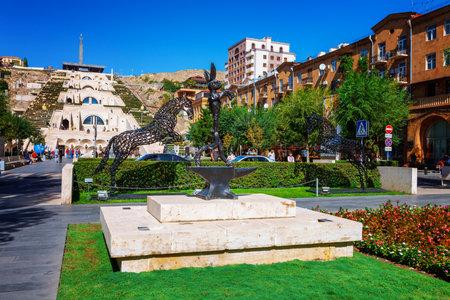 rabit: Yerevan, Armenia - 26 September, 2016: The sculpture, horses and rabit, located in Cafesjian Art Center garden