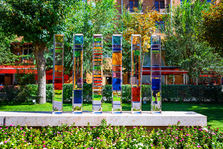 yerevan armenia 26 september 2016 the colorful glass sculpture located in cafesjian