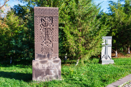 stele: Yerevan, Armenia - 26 September 2016: Khachkar in Tsitsernakaberd - The Armenian Genocide memorial and museum in Yerevan, Armenia. Editorial