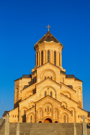 Tbilisi, Georgia - 8 October 2016: Main view with the stair case to Tbilisi Sameba Cathedral Tsminda (Holy Trinity) biggest curch Orthodox Cathedral in Caucasus region, Eurasia. Exterior. Front view