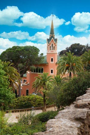 Barcelona, Spain - April 19, 2016: Famous Park Guell in Barcelona, Spain. The Gaudi House Museum view from the top Editorial