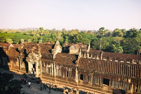 second floor: Second floor top side view of Angkor wat main temple in Siem Reap, Cambodia Stock Photo