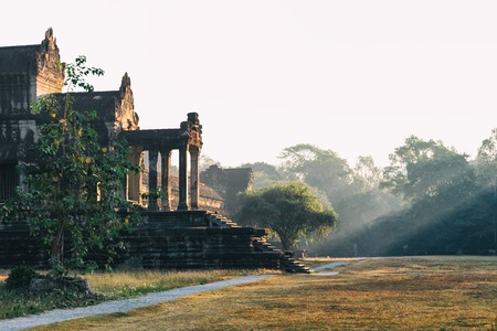 Side Front view of Angkor wat main temple in Siem Reap, Cambodia in the morning sunsrise light