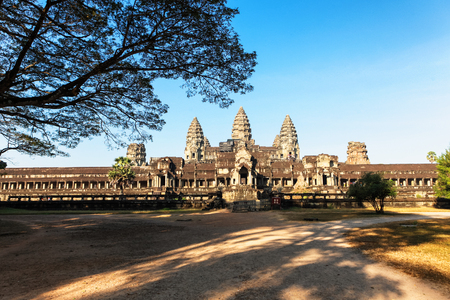 Front view of Angkor wat main temple in Siem Reap, Cambodia