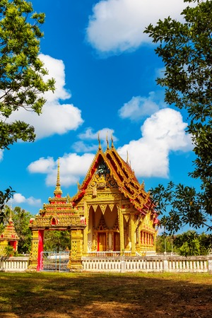 Beautiful temple Wat Samai Kongka on Ko Pha Ngan, Thailand on a sunny day