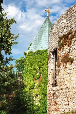 Church of the Holy Mother of God Crkva Ruzica in Belgrade Fortress or Beogradska Tvrdjava consists of the old citadel and Kalemegdan Park on the confluence of the River Sava and Danube, in an urban area of modern Belgrade, the capital of Serbia. Stock Photo