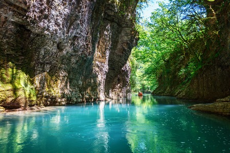 Martvili canyon in Georgia. Beautiful natural canyon with view of the mountain river, christal blue water and boat ride near Kutaisi