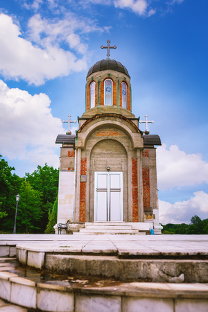 Church of New Martyrs of Kragujevac, locates in Memorial museum and park 21 October in Kragujevac, Serbia. Architect by Ljubica Bosnjak in Byzantine style