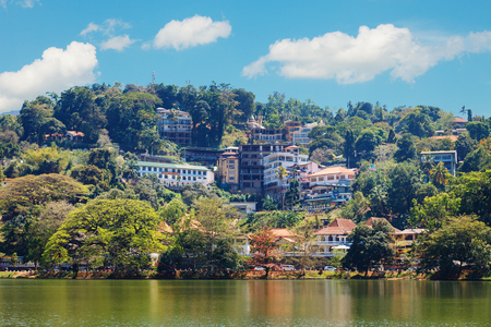 Kandy Lake and Kandy city aerial panoramic view from Tooth Buddha Temple Stock Photo