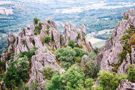 Ancient volcanic rocks and mountain that rise high out of fertile plains, Borac village, Serbia, Sumadija districit, Kruc region