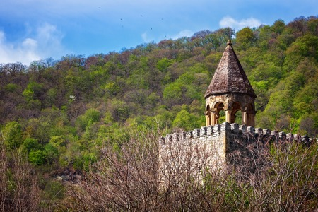 Nice panoramic view of the fortressand church Ananuri, standing on the shore of the reservoir Zhinvali. Georgia on a sunny day