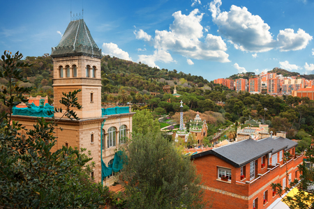 Barcelona, Spain - April 19, 2016: Famous Park Guell in Barcelona, Spain. The Gaudi House Museum view from the top Stock Photo