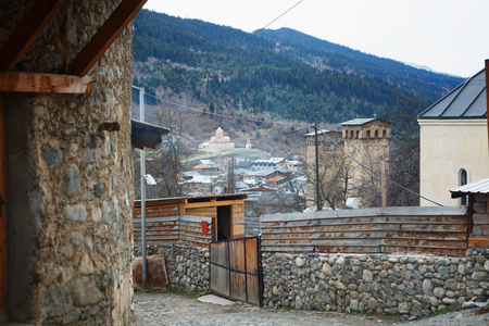 Historical defensive towers of Mestia - townlet in the highlands of Upper Svaneti province. It is a highland townlet in northwest Georgia, at an elevation of 1500 metres in the Caucasus Mountains.