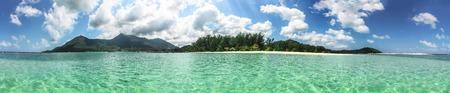 Panoramic view Thong Nai Pan Yai beach, Paradise, Malibu or Bottle beach on island Koh Phangan, village Chaloklum, Thailand, sunny day, white sand and crystal transparent blue water Zdjęcie Seryjne