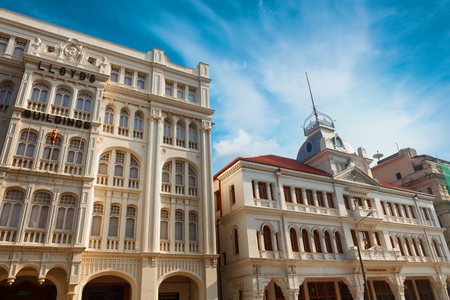 Colombo, Sri Lanka - 11 February 2017: Prince street of Dutch colonial architecture. The former Whiteways department store and LLoyds Employee Provident Fund EPF in fort and Pettah district of Colombo Editorial