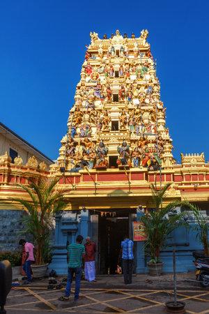 Colombo, Sri Lanka - 11 February 2017: The tower of a Hindu Temple Kovil in Colombo, Sri Lanka. Located near Pettah district. Main entrance exterior Editorial