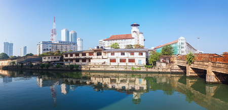 Colombo, Sri Lanka - 11 February 2017: Panoramic view on Young mens Buddhist assiciation, skyscrapers of World Trade from Srilanka Customs Head office in fort Pettah district by Mawatha bridge
