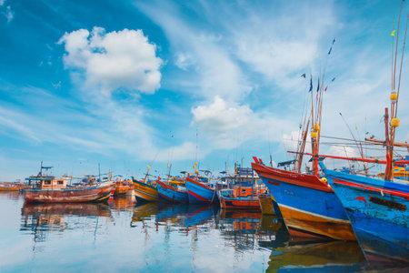 Beruwala, Sri Lanka - 10 February, 2017: Fishing boats stand in Beruwala Harbour, fish market in Bentota or Aluthgama area. One of the biggest Srilankan fresh seafood markets