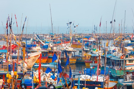 Beruwala, Sri Lanka - 10 February, 2017: Fishing boats stand in Beruwala Harbour, fish market in Bentota or Aluthgama area. One of the biggest Srilankan fresh seafood markets