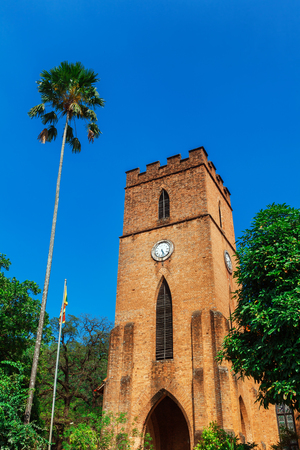 St. Pauls Church or church of Ceylon facade in Kandy, Sri Lanka locates next to relic Temple tooth